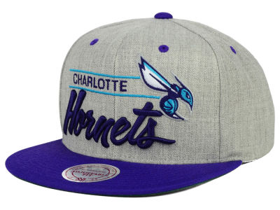 Charlotte Hornets Mitchell and Ness NBA City Bar Script Snapback Cap