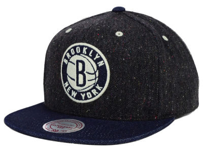 Brooklyn Nets Mitchell and Ness NBA Tweed Denim Strapback Cap