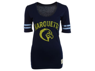 Marquette Golden Eagles NCAA Womens Stripe Scoop T-Shirt