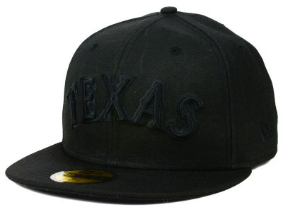 Texas Rangers New Era MLB Black on Black Fashion 59FIFTY Cap