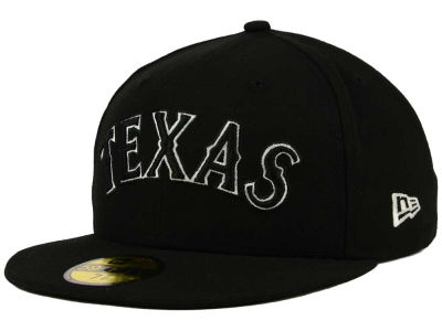 Texas Rangers New Era MLB Black and White Fashion 59FIFTY Cap