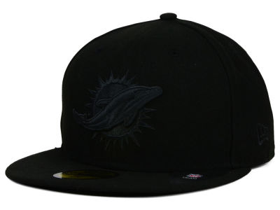 Miami Dolphins New Era NFL Black on Black 59FIFTY Cap
