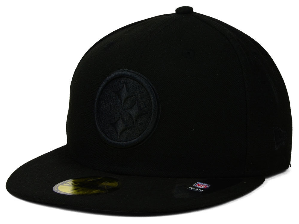 32c6ed3d547 Pittsburgh Steelers New Era NFL Black on Black 59FIFTY Cap