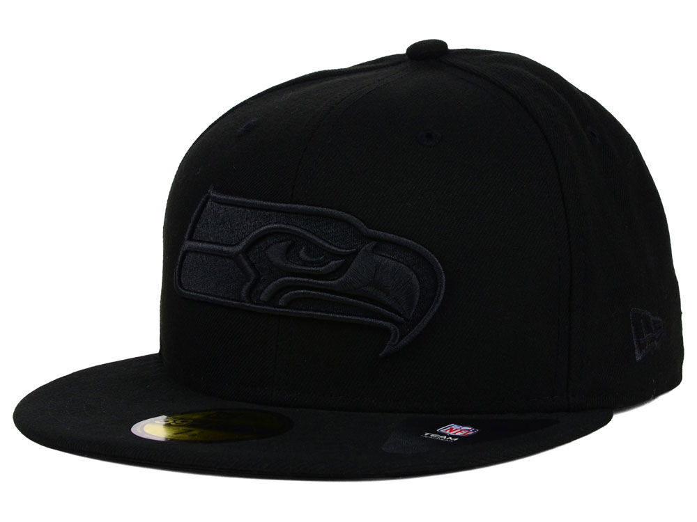 ... order seattle seahawks new era nfl black on black 59fifty cap 5a18a  86d93 06bf145efe15
