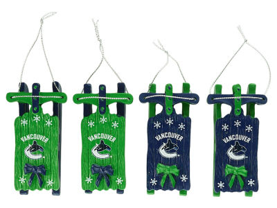 Vancouver Canucks Resin Sleigh Ornament Set of 4