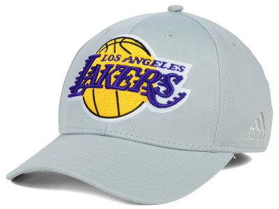 Los Angeles Lakers adidas NBA Gray Run and Gun Flex Cap