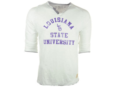 LSU Tigers NCAA Mens Long Sleeve Slub Henley Shirt