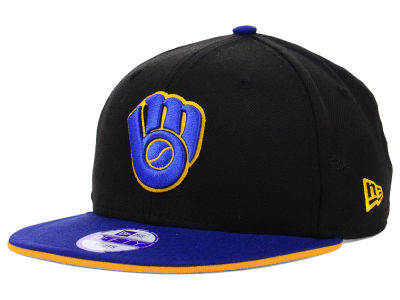 Milwaukee Brewers New Era MLB Youth Black Team Flip 9FIFTY Snapback Cap