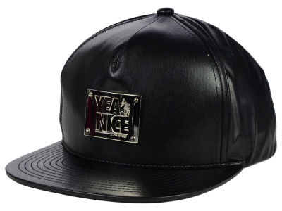 Yea.Nice YN Badge Leather Snapback Hat