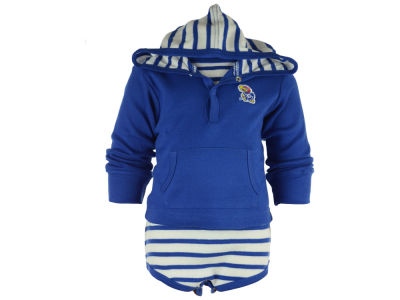 Kansas Jayhawks NCAA Newborn Hooded Striped Creeper