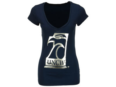 UNC Wilmington Seahawks Blue 84 NCAA Womens Big Icon V Neck T-Shirt