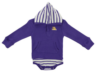 LSU Tigers NCAA Infant Hooded Striped Creeper