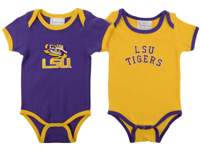 LSU Tigers Atlanta Hosiery NCAA Newborn 2 Pack Contrast Creeper