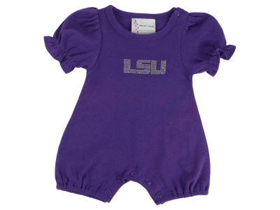 LSU Tigers Atlanta Hosiery NCAA Newborn Girls Rhinestone Romper