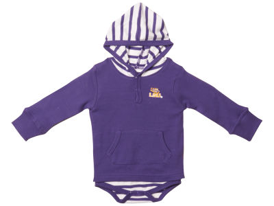 LSU Tigers NCAA Newborn Hooded Striped Creeper