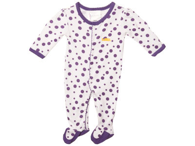 LSU Tigers NCAA NB Polka Dot Footed Creeper Body Suit