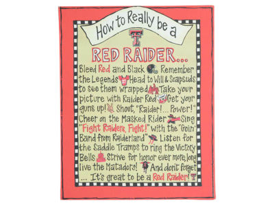 Texas Tech Red Raiders How to Be Table Top Canvas