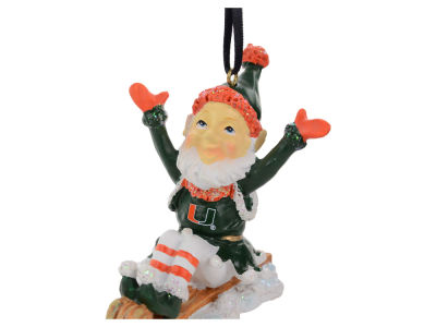 Miami Hurricanes Sledding Elf Ornament