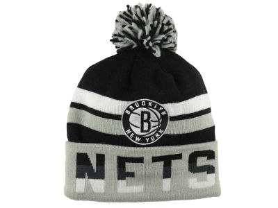 Brooklyn Nets Mitchell and Ness NBA Trifecta Cuffed Pom Knit