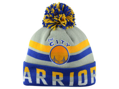 San Francisco Warriors Mitchell and Ness NBA Trifecta Cuffed Pom Knit