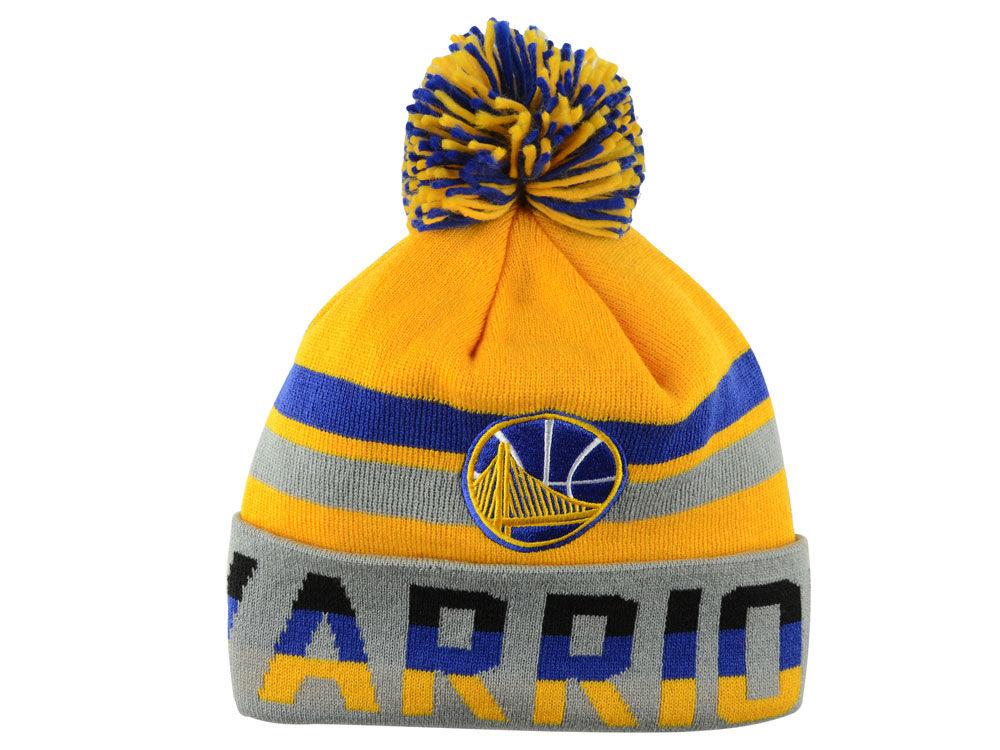 Golden State Warriors Mitchell   Ness NBA Trifecta Cuffed Pom Knit ... d6d749f2e73d