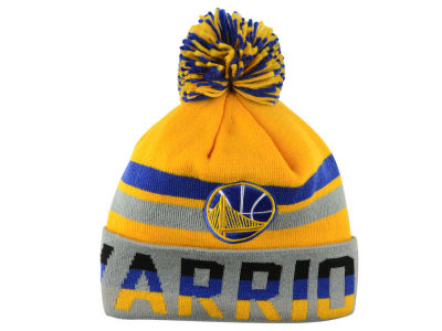 Golden State Warriors Mitchell and Ness NBA Trifecta Cuffed Pom Knit