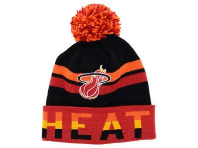 Miami Heat Mitchell and Ness NBA Trifecta Cuffed Pom Knit