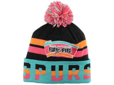 San Antonio Spurs Mitchell & Ness NBA Trifecta Cuffed Pom Knit