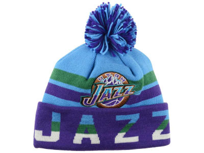 Utah Jazz Mitchell & Ness NBA Trifecta Cuffed Pom Knit
