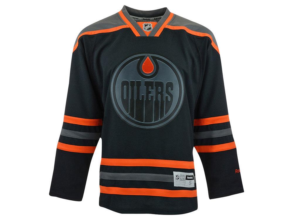1d9e5054a Edmonton Oilers Reebok NHL Men s Black Pop Premier Jersey