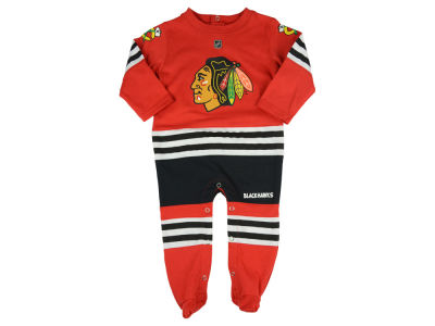 Chicago Blackhawks adidas NHL Newborn Authentic Long Sleeve Coverall