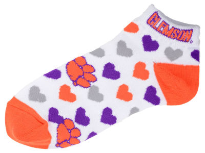 Clemson Tigers Lady Heart Logo Repeat Sock