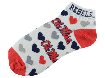 Ole Miss Rebels For Bare Feet Lady Heart Logo Repeat Sock