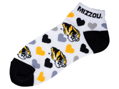 Missouri Tigers For Bare Feet Lady Heart Logo Repeat Sock