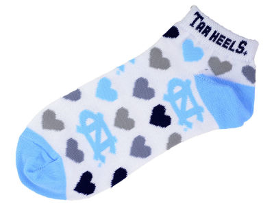 North Carolina Tar Heels Lady Heart Logo Repeat Sock