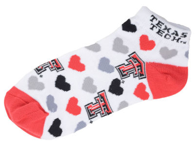 Texas Tech Red Raiders For Bare Feet Lady Heart Logo Repeat Sock