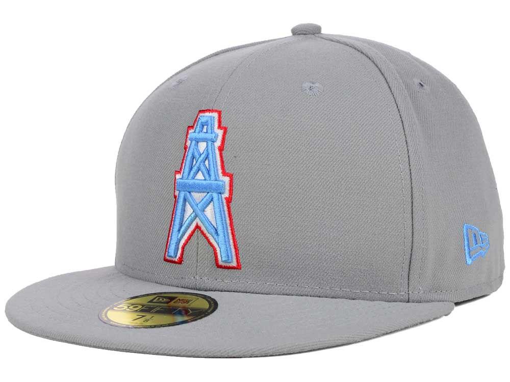 Houston Oilers New Era NFL Pop Gray Basic 59FIFTY Cap  4ddbbaf3cbd2