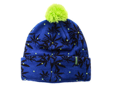 No Bad Ideas Blue Leafy Cuffed Pom Knit