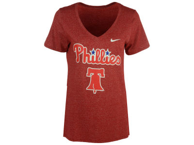 Philadelphia Phillies Nike MLB Women's Marled Mid V-Neck T-Shirt