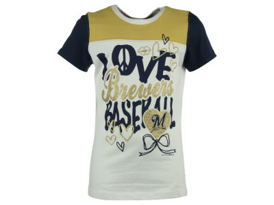 Milwaukee Brewers MLB Youth Girls Love Baseball T-Shirt