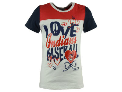Cleveland Indians 5th & Ocean MLB Youth Girls Love Baseball T-Shirt