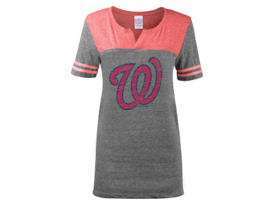Washington Nationals 5th & Ocean MLB Women's V-Notch Triblend T-Shirt