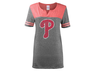 Philadelphia Phillies 5th & Ocean MLB Women's V-Notch Triblend T-Shirt
