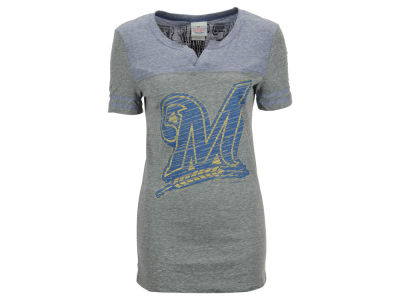 Milwaukee Brewers MLB Women's V-Notch Triblend T-Shirt