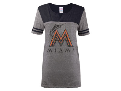 Miami Marlins 5th & Ocean MLB Women's V-Notch Triblend T-Shirt