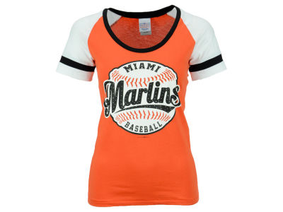 Miami Marlins 5th & Ocean MLB Women's LE Athletic Baseball T-Shirt