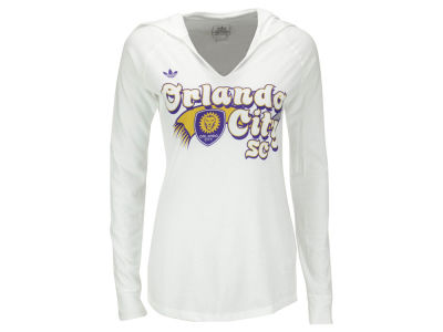 Orlando City SC adidas MLS Women's Scarf Sweep Long Sleeve Hooded T-Shirt