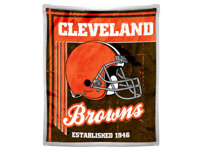 "Cleveland Browns Mink Sherpa Throw 50x60inch ""Old School"""