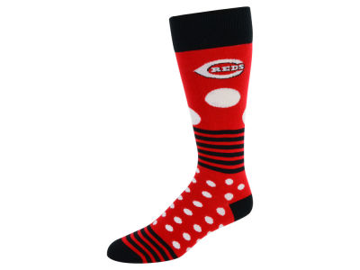 Cincinnati Reds For Bare Feet Dots and Stripes Sock