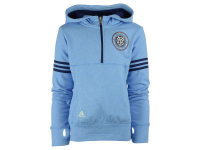 New York City FC adidas MLS Girls Goalie Girl Half Zip Hoodie